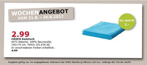 IKEA HÄREN Badetuch, 100% Baumwolle, 140x70 cm - jetzt 40% billiger
