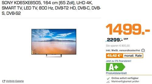 Sony KD-65XE8505 165 cm (65 Zoll Display), LCD-Fernseher, 800 Hz - jetzt 21% billiger