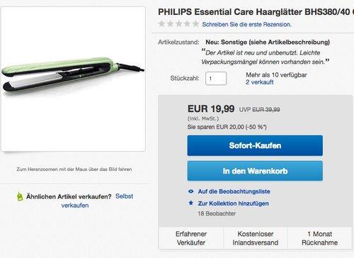PHILIPS Essential Care Haarglätter BHS380/40 - jetzt 41% billiger