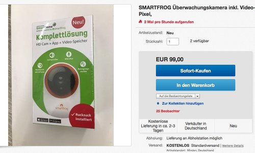 Smartfrog Kamera-Paket (Überwachungskamera inkl. Video-Speicher) - jetzt 34% billiger