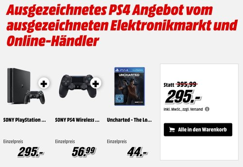 Playstation 4 Slim 1TB inkl. 2 DualShock Controller & Uncharted 4 - jetzt 8% billiger