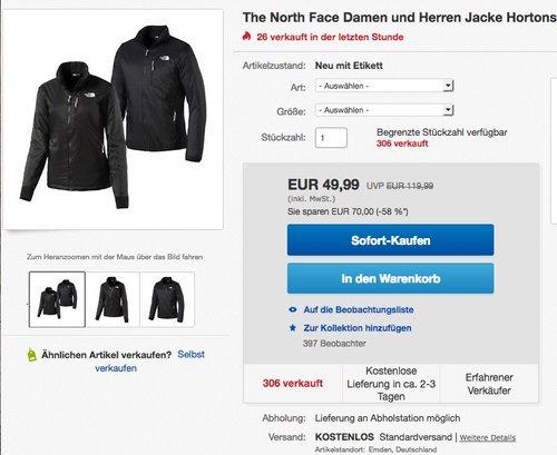The North Face Damen und Herren Jacke Hortons Funktionsjacke - jetzt 42% billiger