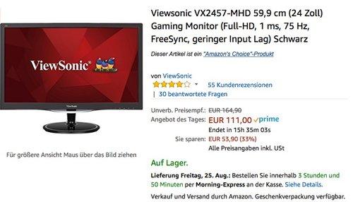 Viewsonic VX2457-MHD 59,9 cm (24 Zoll) Gaming Monitor - jetzt 14% billiger