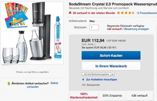 SodaStream Crystal 2.0 titan Promopack - jetzt 15% billiger