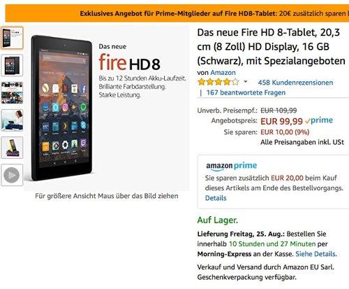 Das neue Fire HD 8-Tablet, 20,3 cm (8 Zoll) HD Display, 16 GB (Schwarz) - jetzt 20% billiger