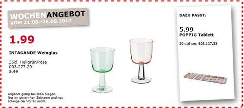 IKEA INTAGANDE Weinglas, 26cl., hellgrün/rosa - jetzt 43% billiger