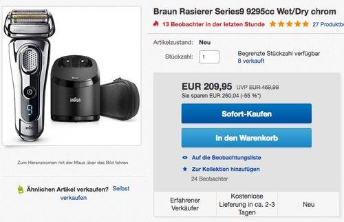 Braun Series 9 9295 CC Elektrischer Rasierer Technologie Wet & Dry - jetzt 15% billiger