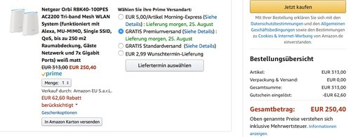 Netgear Orbi RBK40-100PES AC2200 Tri-band Mesh WLAN System - jetzt 20% billiger