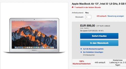 """Apple MacBook Air 13"""", Intel i5 1,8 GHz, 8 GB RAM, 128 GB SSD, 2017 - jetzt 15% billiger"""