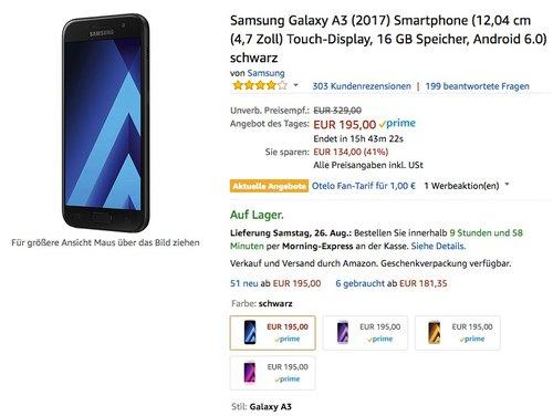 Samsung Galaxy A3 (2017) Smartphone (12,04 cm (4,7 Zoll) Touch-Display, 16 GB Speicher, Android 6.0) - jetzt 13% billiger