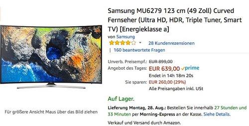 Samsung UE49MU6279 123 cm (49 Zoll) Curved Fernseher (Ultra HD, HDR, Triple Tuner, Smart TV)  - jetzt 9% billiger