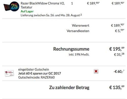 Razer Blackwidow Chroma V2 Taktile & Klickende Mechanische Gaming Tastatur - jetzt 20% billiger
