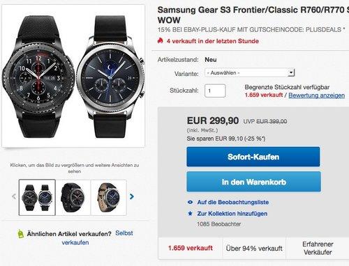 Samsung Gear S3 Frontier/Classic R760/R770 Smartwatch - jetzt 15% billiger
