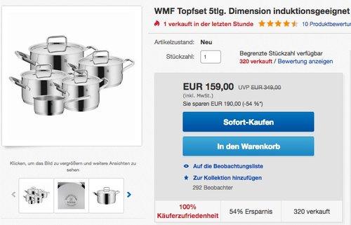 WMF Topfset 5tlg. Dimension  - jetzt 28% billiger