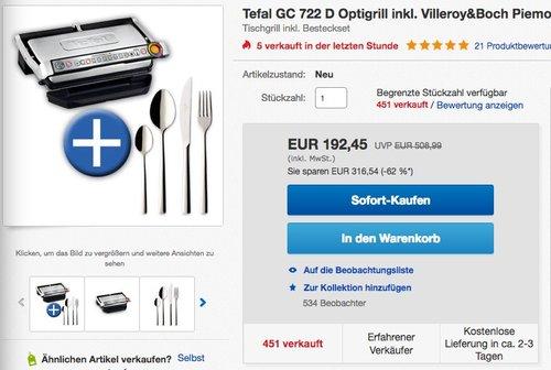Tefal GC722D Optigrill plus XL - jetzt 15% billiger