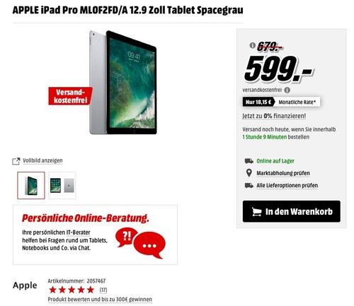 APPLE iPad Pro ML0F2FD/A 12.9 Zoll Tablet Spacegrau - jetzt 12% billiger