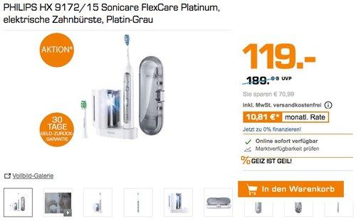 PHILIPS HX 9172/15 Sonicare FlexCare Platinum, elektrische Zahnbürste, Platin-Grau - jetzt 12% billiger
