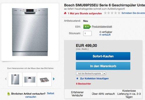 Bosch SMU69P25EU Serie 6 Unterbau - Geschirrspüler  - jetzt 17% billiger