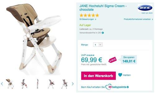 JANE Hochstuhl Sigma Cream - chocolate - jetzt 18% billiger