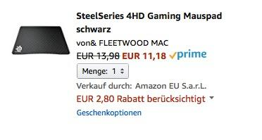 SteelSeries 4HD Gaming Mauspad schwarz - jetzt 20% billiger