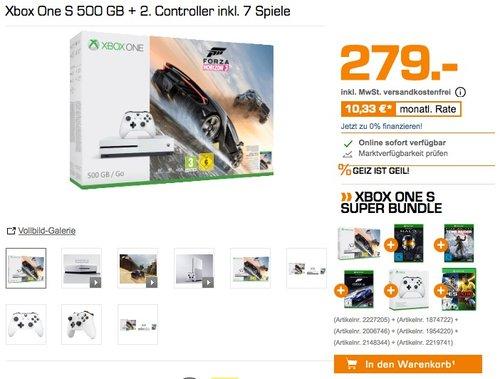 Xbox One S 500 GB + 2. Controller inkl. 7 Spiele - jetzt 21% billiger