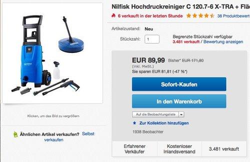 Nilfisk Hochdruckreiniger C 120.7-6 X-TRA + Flächenreiniger Compact Patio ACC - jetzt 13% billiger