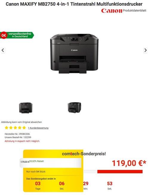 Canon MAXIFY MB2750 4-in-1 Tintenstrahl Multifunktionsdrucker - jetzt 18% billiger