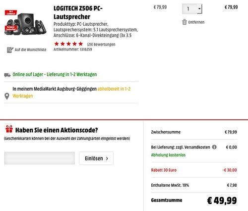 Logitech Z506 5.1 150 Watts Lautsprechersystem schwarz - jetzt 38% billiger