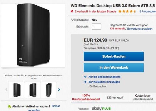 Western Digital 5TB Elements Desktop externe Festplatte USB3.0 - jetzt 15% billiger