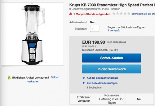 Krups KB7030 High Speed Standmixer Perfect Mix 9000, 2 L, 1500 W - jetzt 23% billiger
