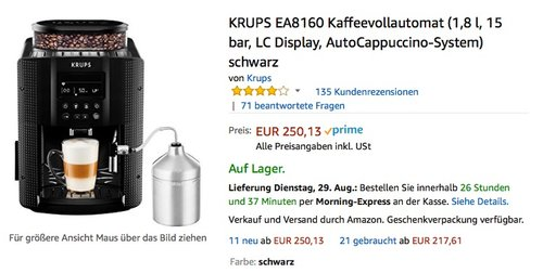 KRUPS EA8160 Kaffee-Vollautomat (1,8 l, 15 Bar, LC Display, AutoCappuccino-System) schwarz - jetzt 10% billiger