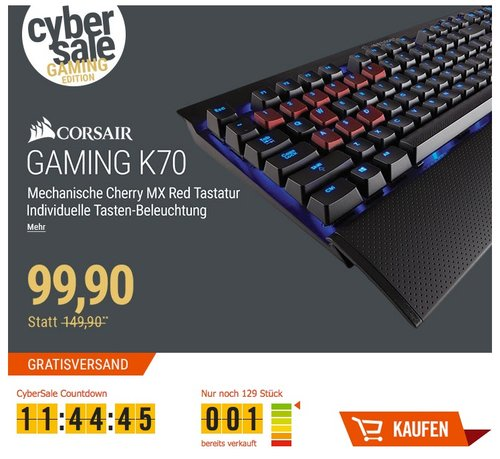 Corsair Gaming CH-9000117-DE K70 Cherry MX Red Mechanische Gaming Tastatur (Performance Blaue LED Beleuchtung, DE)  - jetzt 32% billiger