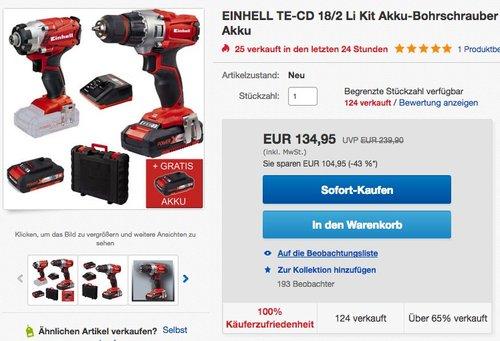 EINHELL TE-CD 18/2 Li Kit (2x1,5 Ah) Akku-Bohrschrauber - jetzt 15% billiger