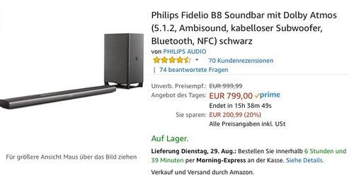 Philips Fidelio B8 Soundbar mit Dolby Atmos (5.1.2, Ambisound, kabelloser Subwoofer, Bluetooth, NFC) - jetzt 20% billiger
