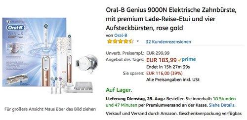 Oral-B Genius 9000N Elektrische Zahnbürste, mit premium Lade-Reise-Etui und vier Aufsteckbürsten, rose gold - jetzt 8% billiger
