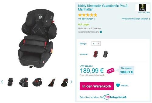 Kiddy Kindersitz Guardianfix Pro 2 Autositz - jetzt 21% billiger