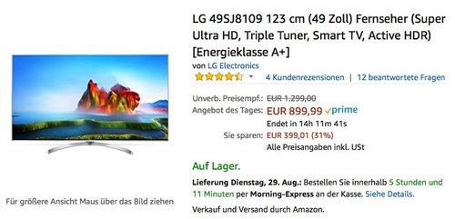 LG 49SJ8109 123 cm (49 Zoll) Fernseher (Super Ultra HD, Triple Tuner, Smart TV, Active HDR) - jetzt 14% billiger