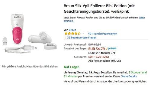 Braun Silk-épil Epilierer Bibi-Edition (mit Gesichtsreinigungsbürste), weiß/pink - jetzt 22% billiger