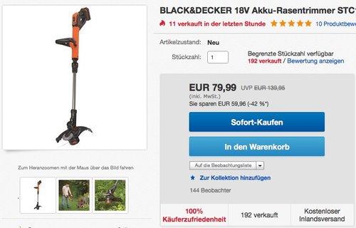 BLACK&DECKER 18V Akku-Rasentrimmer STC1820PC 1x 2,0Ah Akku+Ladegerät - jetzt 24% billiger
