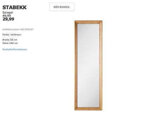 IKEA STABEKK Spiegel, Breite:50 cm, Höhe:160 cm, hellbraun - jetzt 40% billiger