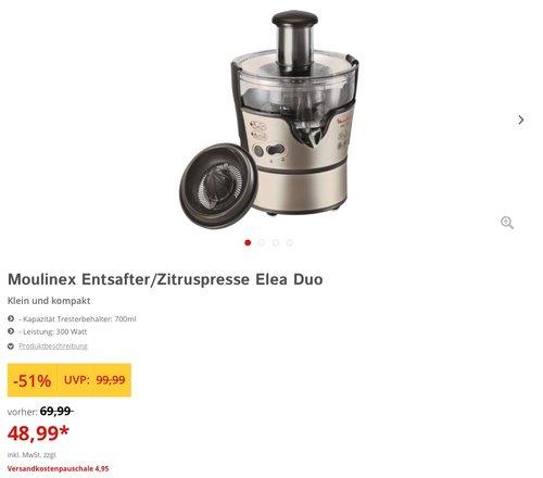Moulinex JU385H Entsafter und Zitruspresse Elea Duo (300 Watt, 2 Geschwingigkeitsstufe)  - jetzt 33% billiger
