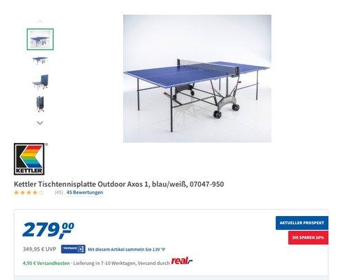 Kettler Tischtennisplatte AXOS Outdoor 1 - Farbe: Blau und weiß - jetzt 12% billiger
