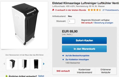Eldstad Klimaanlage Luftreiniger Luftkühler Ventilator Luftbefeuchter mobil - jetzt 13% billiger