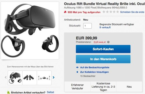 Virtual Reality Oculus Rift + Touch Bundle - jetzt 11% billiger