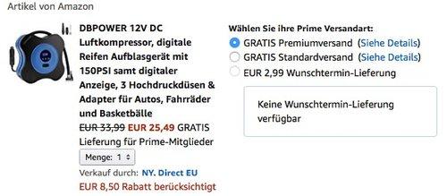 DBPOWER 12V DC Luftkompressor - jetzt 25% billiger