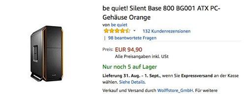 be quiet! Silent Base 800 BG001 ATX PC-Gehäuse Orange - jetzt 13% billiger