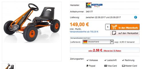 Kettler Kettcar Air - jetzt 14% billiger