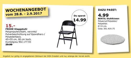 IKEA FRODE Klappstuhl, 45x55 cm, 80 cm hoch, dunkelgrau - jetzt 50% billiger
