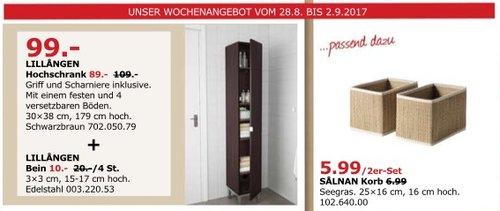 IKEA LILLÄNGEN Hochschrank, 30x38 cm, 179 cm hoch, schwarzbraun - jetzt 18% billiger