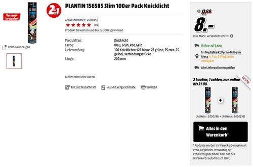 2x PLANTIN 156585 Slim 100er Pack Knicklicht  - jetzt 60% billiger